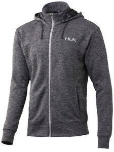 Huk Men's Fin Tech Full Zip Heather Black Small Fishing Fleece Hoodie Sweatshirt