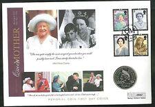 2002-Tapa de monedas de la reina madre Memorial - £ 5 Moneda & City Westminister PMK