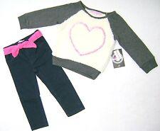 JUICYLICIOUS Girls Toddler 2Pcs Long Sleeve Top & Denim Pant Set Size 2T