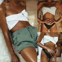 Ladies Bandeau Shiny Thong Bikini Set Women Swimwear Swimsuit Summer Beachwear