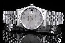 Rolex Steel Men's Datejust 16234, Factory Silver Diamond Dial