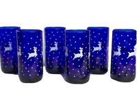 Vtg Libbey Cobalt Blue Tumblers 16oz Set of 6 White Reindeer Highball Holiday