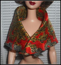 SCARF MATTEL BARBIE DOLL MILLICENT ROBERTS RED GOLD PAISLEY PRINT ACCESSORY ITEM