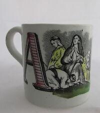 Antique Staffordshire Transferware Abc Child's Mug Letters A Angels& B Broken