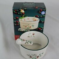"Pfaltzgraff Winterberry Dip Bowl and Spreader Red Green 2 1/2"" H 4 1/2"" D w/Box"