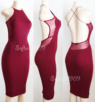 8ce2ae81fc2 NEW Burgundy Maroon High Neck SEXY Mesh Inset Open Back Slim Bodycon Midi  Dress