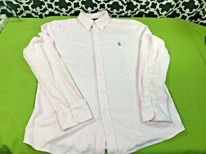 Ralph Lauren Knit Oxford Pink YOUTH Boys Dress Shirt - Sz. XL