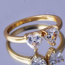 18K Yellow Gold Plated Womens Cute Love Heart Clear Crystal Wedding Ring Size 8
