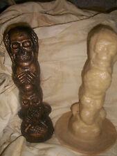 Speak see hear no evil skull large rubber latex mould mold ornament figurine