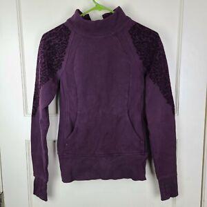 Lululemon Floral Flock Women's Pullover Black Cherry Sweatshirt Thumbholes Zip 2