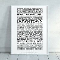 Downtown Song Lyrics Print Poster (Unframed) Wall Art Decor Gift Typography