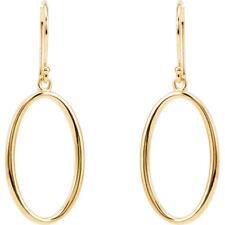 14 k yellow gold oval dangle earrings