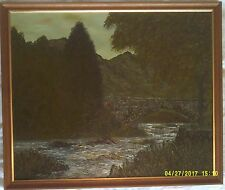 Acrylique sur toile Tableau signé M.B. Turner. Killin Pont et la rivière Dochart