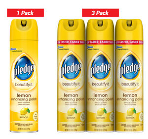 Pledge Lemon Enhancing Polish 9.7 oz,1 Pack, 3 Pack, Fast & easy shine, removes