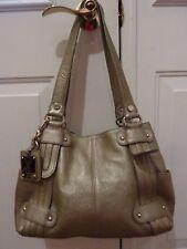 Tignanello Silver Metallic Pebbled Leather Perfect 10 French Tote Bag Shopper~