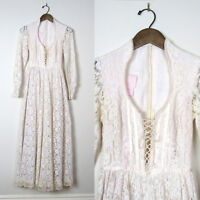 Vtg 70s VICTORIAN GUNNE SAX WEDDING DRESS Bridal Gown CROCHET LACE UP BODICE XXS