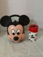 Vintage Aladdin Walt Disney Mickey Mouse Head Plastic Lunch Box W/ Orig Thermos