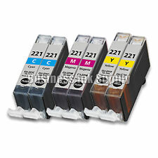 6 COLOR CLI-221CLI221 CLI 221 Ink Tank for Canon Printer Pixma iP3600 iP4600 NEW