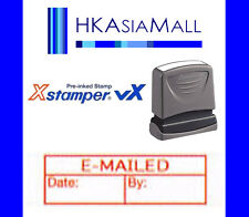Xstamper VX { E-MAILED DATE BY } Pre-Inked Self-Inking Red Ink Rubber Stamp 1177