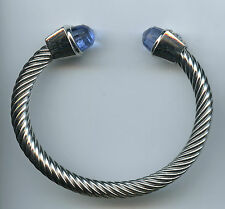 Rhodium & Yellow Gold Plated Blue Faceted End Piece Cuff Bangle Bracelet