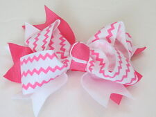Hot Pink Chevron Double Knot Hair Bow