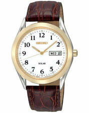 Seiko Men's Brown Leather Solar Powered Watch SNE056