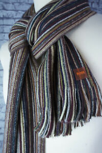 HUGO BOSS - Mens Multi Coloured Stripe Scarf - Wool - Excellent Condition