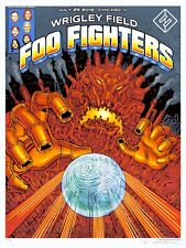Mint & Signed Foo Fighters Emek Wrigley Field Chicago A/P Poster 32/50