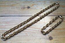 Vintage Chunky Gold Link Necklace & Bracelet Set/Chain/Retro/1970's/80's/Metal