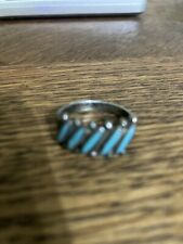 Vintage Sterling Silver Turquoise  Bells trading post Needlepoint Band Ring 6.5
