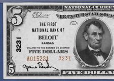 KS 1929  $5  TYPE-TWO ♚♚ BELOIT, KANSAS ♚♚  PMG CH UNC 64 EPQ