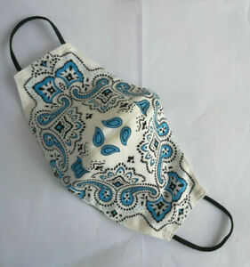Hand made 100% Cotton Fabric Reusable Face Mask Size L For Men Made From Bandana