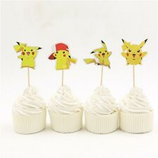 24 un. Pokemon Pastel Cupcake Topper Cumpleaños Infantil Decoración para Fiesta Temática levantado