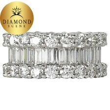 Wide 8 Carats Baguette and Round Diamonds Gold Eternity Band Ring