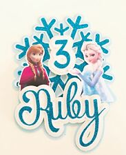 Personalised Frozen Anna And Elsa Snowflake Glittercard Cake Topper