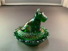 VINTAGE BOYD GLASS COMPANY SCOTTIE DOG SALT  MEADOW GREEN CARNIVAL COLORED GLASS