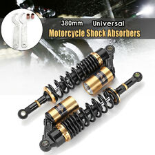 2x 15'' 380mm Rear Air Shock Absorber Suspension Gold ATV Motorcycle Dirt   ;
