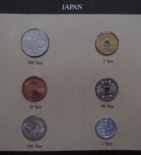 - JAPON - Set de monnaies UNC - dates mixées - Avec timbres -
