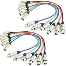 2 Sets 6 Farben Patchkabel Mikrofonkabel je 0,5 m XLR 3 pol DMX Mikrofon Kabel