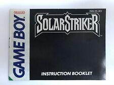 Nintendo Game Boy Solar Striker Instruction Booklet Book Good Condition
