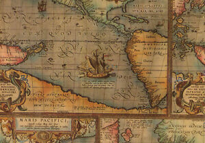 """Old World Map Gift Wrap - Wrapping Paper - 30"""" wide x 6' long Roll"""