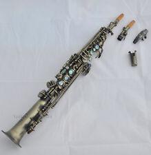Top Antique Soprano Saxophone high F# saxofon abalone shell key without G keyNew