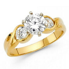 1 ct Round Simulated Diamond 3-Stone 14K Solid Yellow Gold Engagement Ring