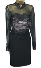Lipsy Sexy Pencil Bodycon Dress 12 Lace Crochet Mesh Black Long Sleeve Occasion