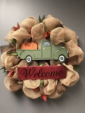 Vintage Truck Fall Burlap Wreath