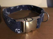 """Blue Anchor Sailor Theme Handmade Dog Collar Medium Adustable 11""""-18"""""""