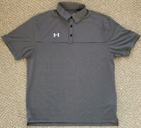 Under Armour Mens HeatGear Clubhouse Golf Polo Shirt Gray Black Striped L