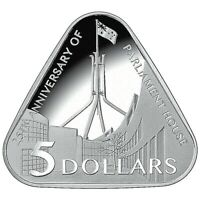 2013 Triangular $5 Silver Proof Coin 25th Anniversary Of Parliament House