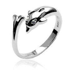 Cz Adjustable Toe Ring .925 Sterling Silver Dolphin with