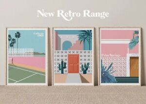 Mid Century Palm Springs A3 Posters, Wall Art, Prints for Walls, Vintage Prints